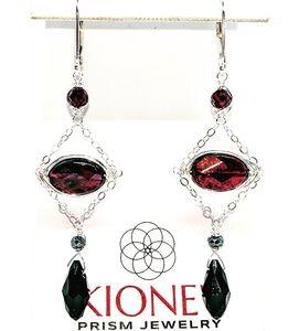 Garnet, hematite, crystal & sterling necklace